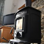 Woodburning stove at Long Linhay, Mortehoe, North Devon